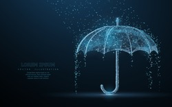 Vector umbrella rain protection. Abstract wire low poy umbrella cover in rain illustration on dark blue background with water fall drops. Meteorology, safety, autumn season concept