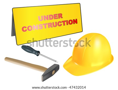 vector under construction banner with tools and helmet, raster version available