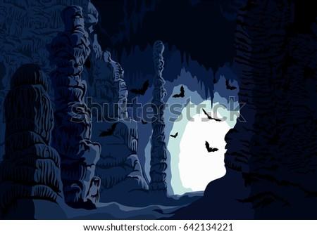 vector underground karst cave