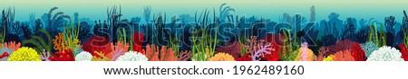 Vector underwater coral reef horizontal seamless pattern. Undersea bottom texture. Foto stock ©