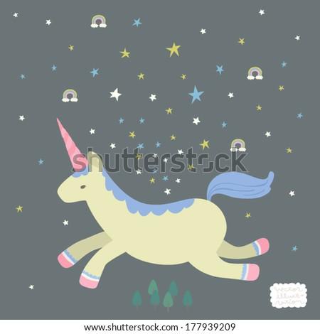 Vector Unicorn Fantasy Illustration