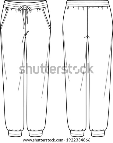Vector unisex jogger fashion CAD, woman sweatpants with side pockets technical drawing, template, sketch Photo stock ©