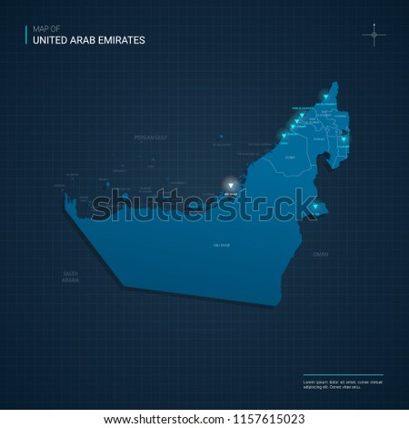 Vector United Arab Emirates map illustration with blue neon lightpoints - triangle on dark blue gradient background. Administrative divisions, cities, borders, capital. Neon tech background with glow.