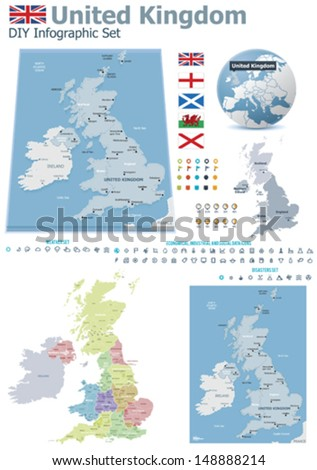 Political Map Of Great Britain.Vector United Kingdom Political And Administrative Divisions Maps