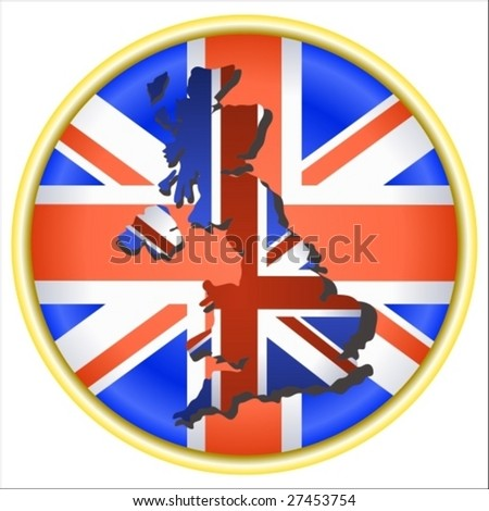 Vector: United Kingdom symbol with map and flag