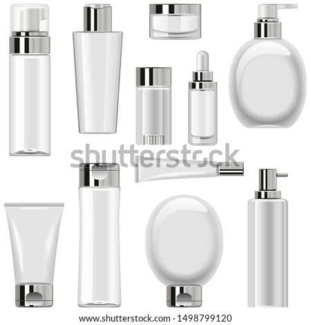 Vector Unlabeled Cosmetic Packaging Set 2 isolated on white background