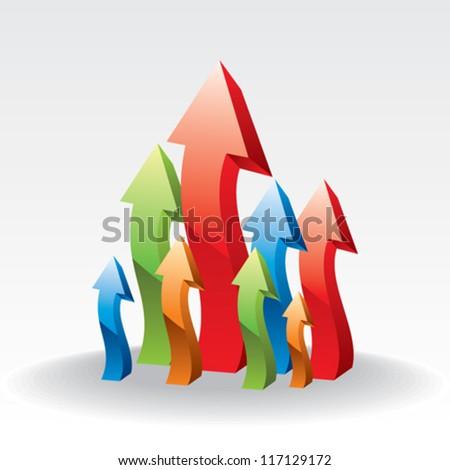 vector upward arrows - stock vector