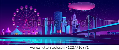 Vector urban concept background with night city illuminated with neon glowing lights. Futuristic cityscape with modern buildings, high skyscrapers, Ferris wheel in amusement park on bank of river