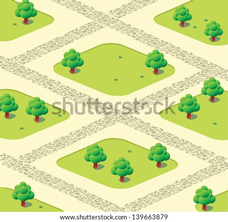 Vector urban garden with trees