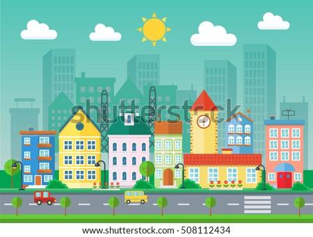 vector urban landscape flat