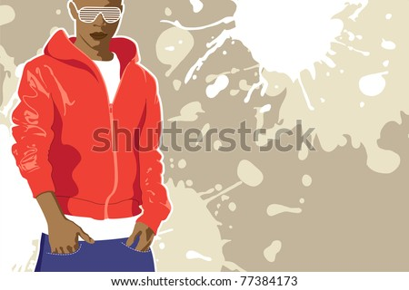 vector urban poster (man on light background)