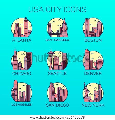 vector usa cities icon set