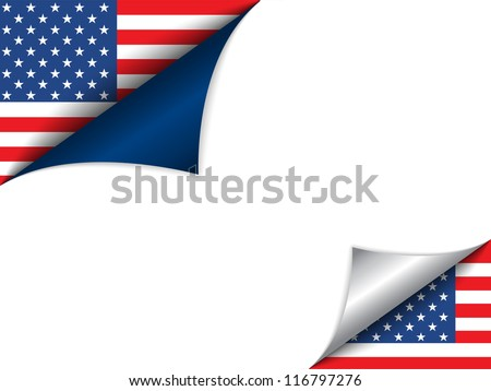 Vector - USA Country Flag Turning Page
