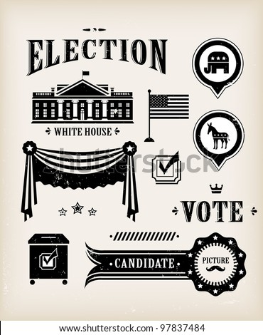 Vector USA election vintage icon set for charts and designs