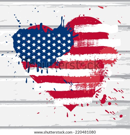 vector usa flag in heart shape