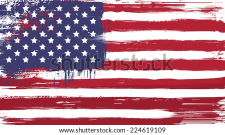 Vector USA grunge flag, painted american symbol of freedom