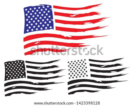 Vector USA grunge flag, painted american symbol of freedom. Set of black and white and colored flags of the united states of america. #1423398128