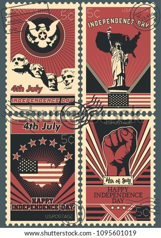 Vector USA Independence Day Postage Stamps. Vintage Stylization