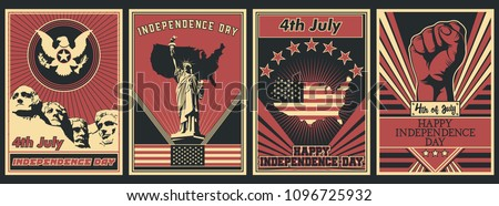 Vector USA Independence Day Poster Set