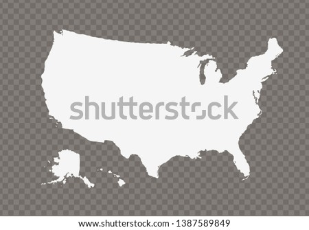 Vector usa map on transparent background.