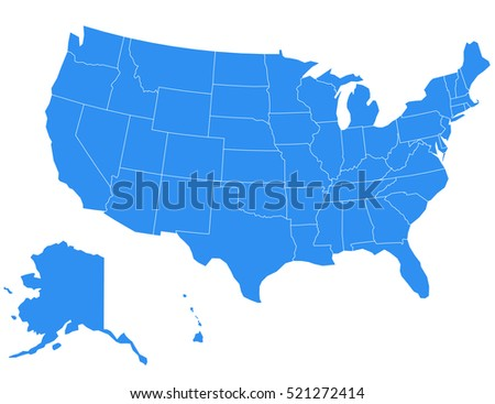 vector usa map on white background
