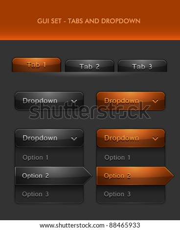 Vector User Interface Elements - Tabs and Rolldown menu