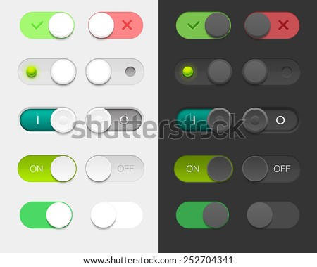 Vector User Interface Set including switches in different design variations