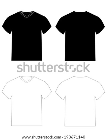 Vector v neck and crew neck t shirt templates for mock ups for Mock crew neck shirts