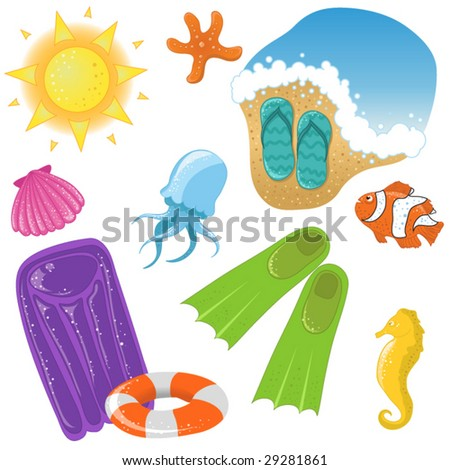 Vector vacation icon set - stock vector