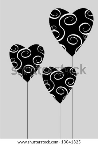 Vector valentine background pattern with black hearts on grey