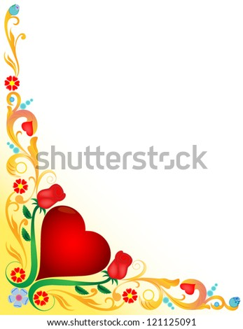 vector valentine background red heart with golden floral ornate