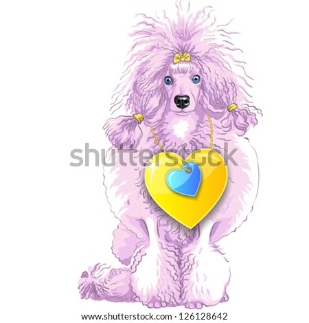 vector Valentine card with a fun pink dog breed Poodle and gold hearts