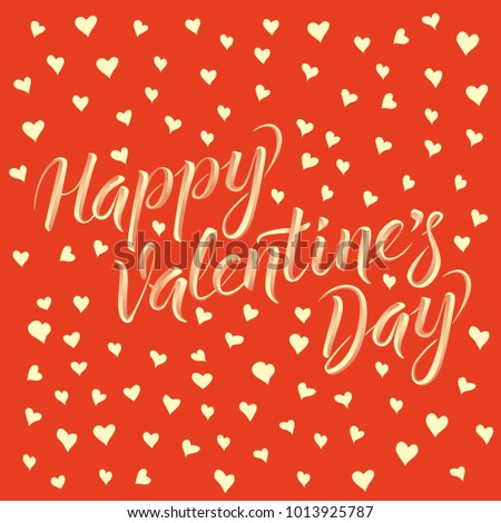 Vector valentine day concept. Card with heart shape, and lettering Happy Valentines Day