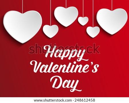 Vector Valentine Day Heart on Red Background