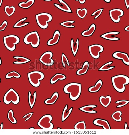 Vector Valentine Hearts in Red and White on Red Background Seamless Repeat Pattern. Background for textiles, cards, manufacturing, wallpapers, print, gift wrap and scrapbooking.