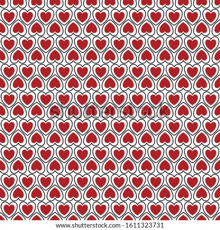 Vector Valentine Hearts in Red and White on White Background Seamless Repeat Pattern. Background for textiles, cards, manufacturing, wallpapers, print, gift wrap and scrapbooking.
