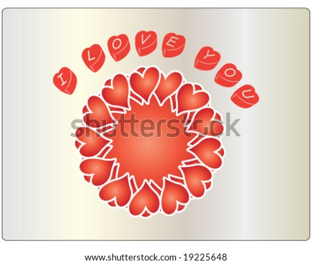 "vector valentine hearts with message ""I love you"""