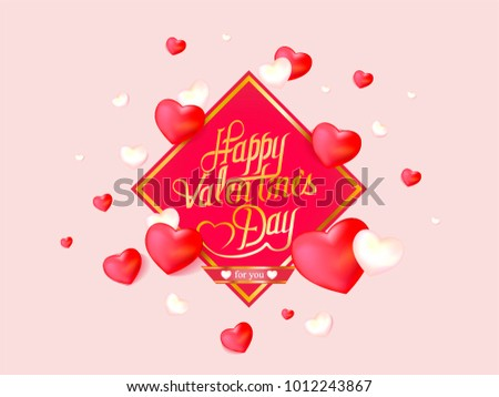 vector valentine's day card with hearts on pink background #1012243867