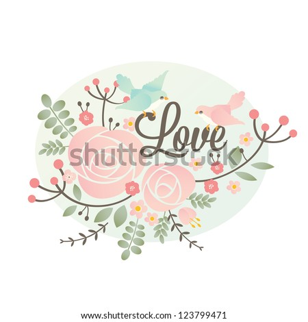 Vector Valentine's day design element with flowers and birds