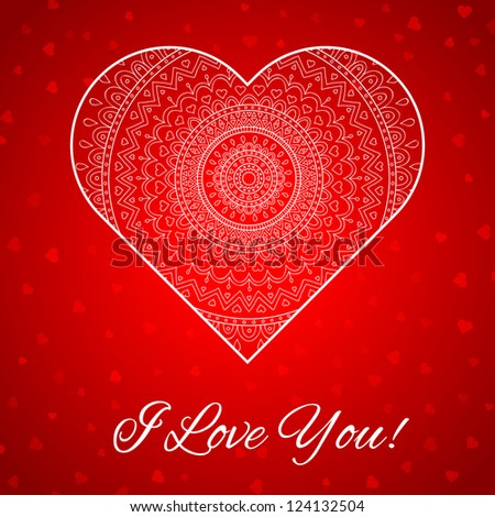 Vector valentine's day gift card with ornaments on heart. Happy Valentine's Day.