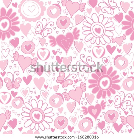 Vector Valentine's Day hearts seamless pattern background with hand drawn elements