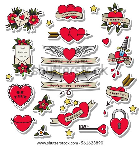 Vector Valentine's Day Hearts Set Traditional Tattoo Design Knife, Lock, Key, Envelope, Letters, Blood, Wings, Angel, Demon, Flowers, Ribbons, Stars Stickers