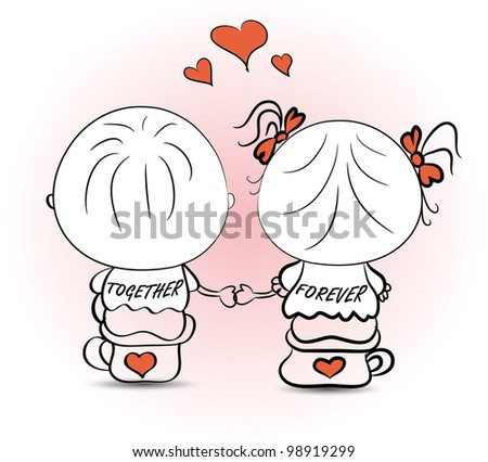 vector-valentine's day illustration with boy and girl