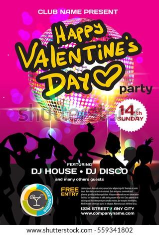 Vector Valentine S Day Party Invitation Disco Style Night Club