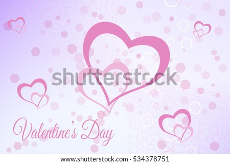 Vector Valentine's Day pink background with hexagon patterns and heart objects.