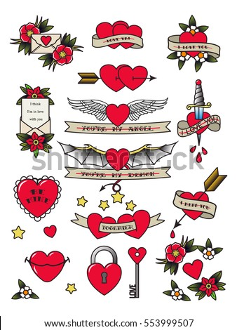 Vector Valentine's Day Traditional Tattooing Flash Set Tattoos Hearts, Flowers, Lips, Arrows, Lock, Key, Wings, Envelope