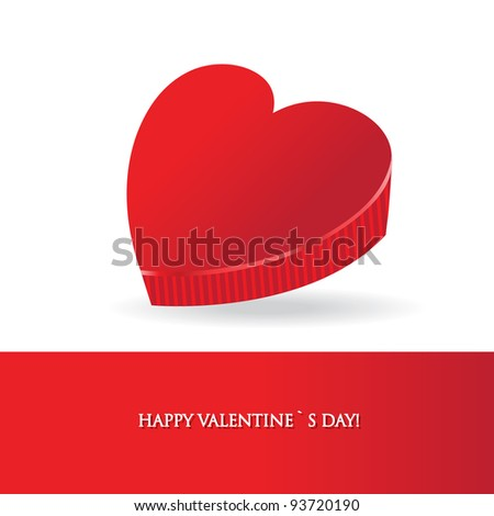 Vector valentines card with red box in the form of  heart