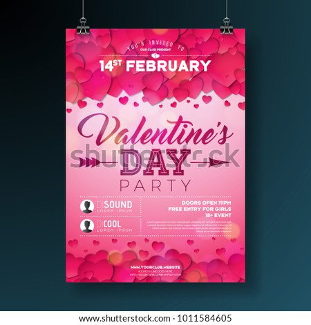 Vector Valentines Day Party Flyer Illustration With Typography And