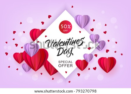 Vector valentines day sale card template with origami paper heart, near small hearts around. Holiday illustration on purple background for poster, banner, advertising design. #793270798