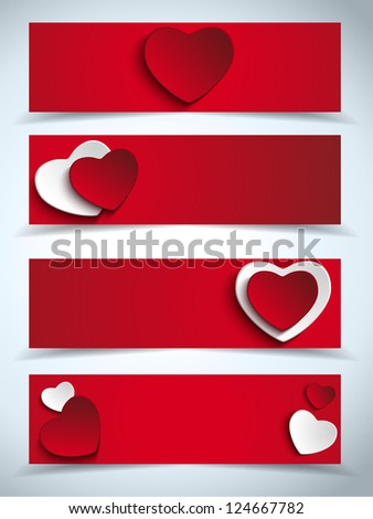 Vector - Valentines Day Set of Four Web Banners